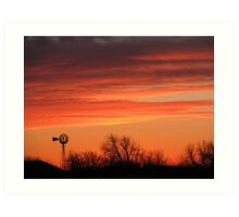 Colorful Orange Windmill at Sunset Winds of Change Art Print
