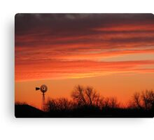 Colorful Orange Windmill at Sunset Winds of Change Canvas Print