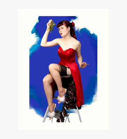 UK Pin Up Stephanie Jay Mistletoe Surprise Art Print