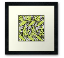 Modern art nouveau tessellations green and gray Framed Print