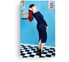 UK Pin Up Stephanie Jay Blue Diner Canvas Print
