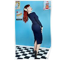 UK Pin Up Stephanie Jay Blue Diner Poster