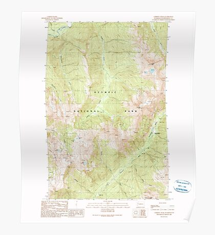 USGS Topo Map Washington State WA Chimney Peak 240490 1990 24000 Poster