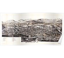 Panoramic Maps Folded bird's-eye view of Bennington VT showing all points of interest Poster