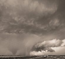 Oklahoma Twister- Black and White by intotherfd