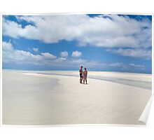 two people on white sands Poster