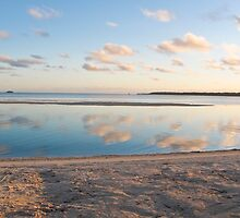 clouds, reflection and sand by Anne Scantlebury