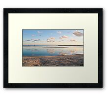 clouds, reflection and sand Framed Print