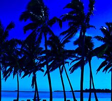 blue silhouette palm trees by Anne Scantlebury