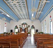 interior of Cook Island church by Anne Scantlebury