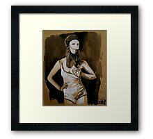 girl in white mask (after Joel-Peter Witkin photo) Framed Print