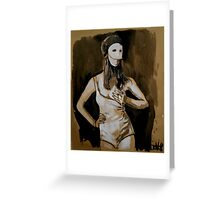 girl in white mask (after Joel-Peter Witkin photo) Greeting Card