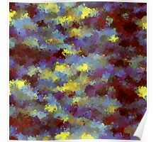 abstract blue and yellow brush painting Poster
