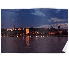 Budapest the Danube River at night.Number 5. Dry Brush Photoshop Poster
