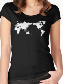 World Map New Zealand Women's Fitted Scoop T-Shirt