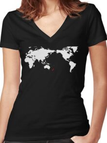 World Map New Zealand Women's Fitted V-Neck T-Shirt