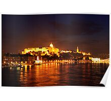 Castle Palace. The Chain Bridge. The Danube River in Budapest at night. Number 2 Poster