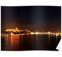 Castle Palace. The Chain Bridge. The Danube River in Budapest at night. Number 3 Poster