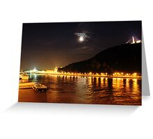 Budapest the Danube River at night.Number 6 Greeting Card