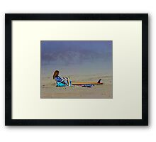 Girl with Surfboard Framed Print