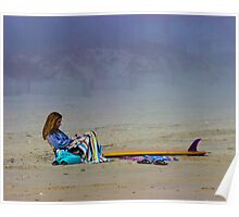 Girl with Surfboard Poster