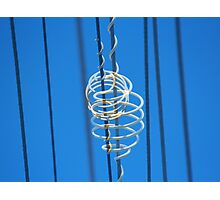 White Plastic Scrolls on Telephone Lines Photographic Print