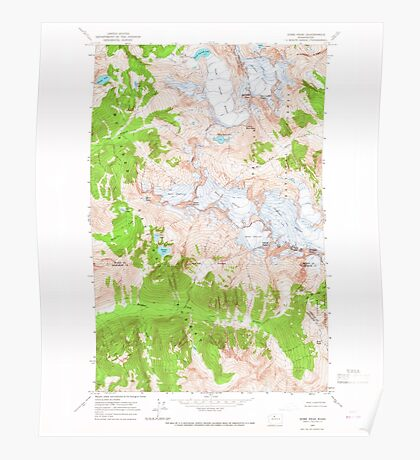 USGS Topo Map Washington State WA Dome Peak 240877 1963 24000 Poster