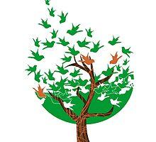 Abstract tree with birds by Eli Avellanoza