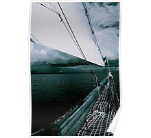 Sailing into a Storm Black and White Poster