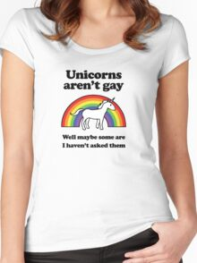 Unicorns aren't gay, well okay maybe some of them Women's Fitted Scoop T-Shirt