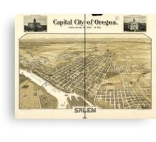 Panoramic Maps Capital city of Oregon Salem Canvas Print