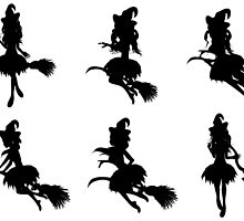 Witch with Broom Silhouette by AnnArtshock