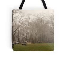 Lake Park Foggy Landscape Tote Bag