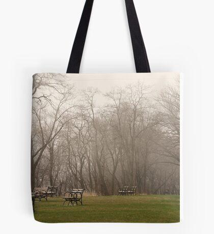 Lake Park Foggy Landscape Tote Bag