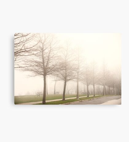 Foggy Sidewalk Scene Canvas Print