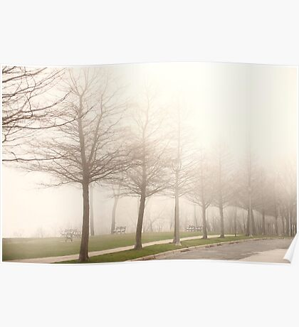 Foggy Sidewalk Scene Poster