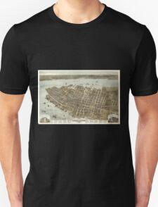 Panoramic Maps Bird's eye view of the city of Charleston South Carolina 1872 Unisex T-Shirt
