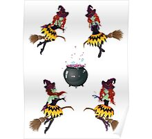 Dark Witch with Broom Poster