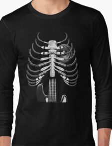 Guitar Skeleton Microphone Rock Music Lovers Long Sleeve T-Shirt