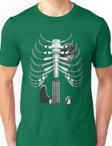 Guitar Skeleton Microphone Rock Music Lovers Unisex T-Shirt