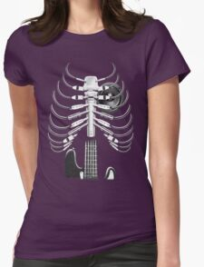Guitar Skeleton Microphone Rock Music Lovers Womens Fitted T-Shirt