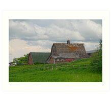 Farm House on a Hill Art Print