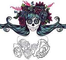 Sugar Skull Girl in Flower Crown 7 by AnnArtshock