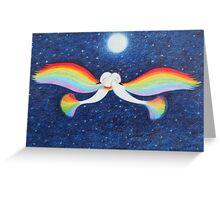 Romantic Rainbow Birds with Moon and Stars: Love Birds  Greeting Card