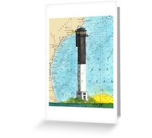 Sullivans Island Lighthouse SC Nautical Map Peek Greeting Card