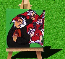Rugby World Cup - New Zealand vs England - 2 Finger Salute on grass by Kiwiana Art Mandii Pope