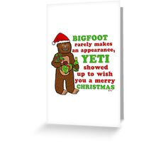 Funny Christmas Bigfoot Yeti Pun Cartoon Greeting Card