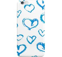 Blue and white chalk pattern of hearts iPhone Case/Skin