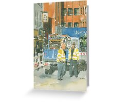 Road works, Old Compton Street, London Greeting Card