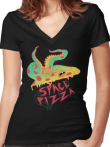 Space Pizza Women's Fitted V-Neck T-Shirt